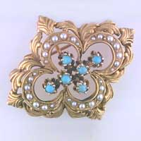 turquoise and seed pearls estate pin